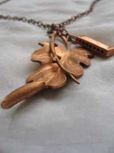 Bronze Leaf and Vintage Miniature Harmonica Charm Necklace