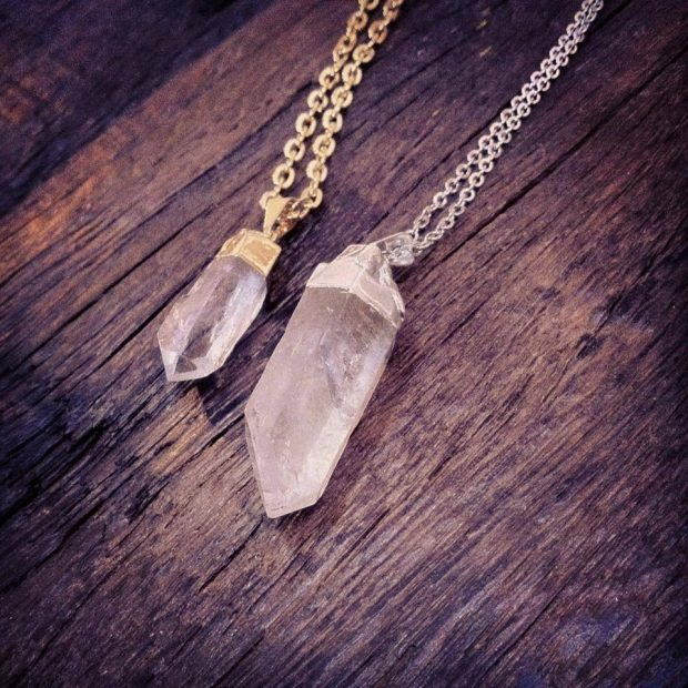 Gold and Silver Crystal Quartz Necklaces